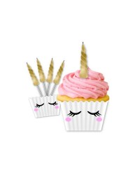 Unicorn cupcake paper kit with horn candles (5)