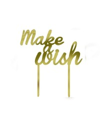Make a wish gold mirror acrylic cake topper