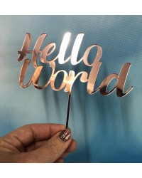 Hello World pink rose mirror acrylic cake topper
