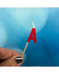 Alphabet or numeral candle on wooden pick Letter A Red