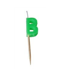 Alphabet or numeral candle on wooden pick Letter B Green