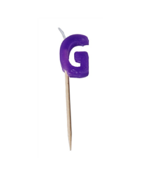Alphabet or numeral candle on wooden pick Letter G Purple