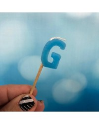 Alphabet or numeral candle on wooden pick Letter G Blue
