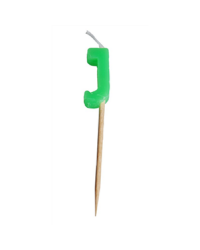 Alphabet or numeral candle on wooden pick Letter J Green