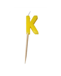 Alphabet or numeral candle on wooden pick Letter K Yellow