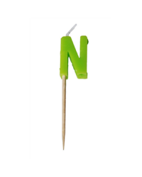 Alphabet or numeral candle on wooden pick Letter N Green