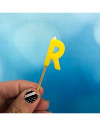 Alphabet or numeral candle on wooden pick Letter R Yellow
