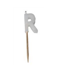Alphabet or numeral candle on wooden pick Letter R White