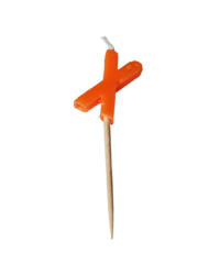 Alphabet or numeral candle on wooden pick Letter X Orange