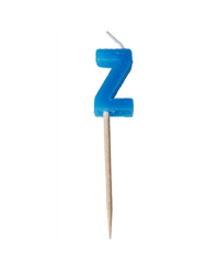 Alphabet or numeral candle on wooden pick Letter Z Blue