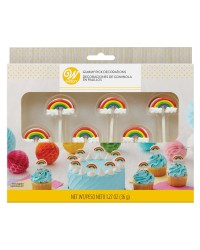 Rainbow edible cupcake pick decorations Gummy and icing
