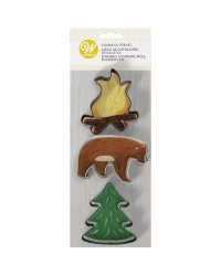 Set of 3 adventurer cookie cutters camp fire flames bear and pine tree