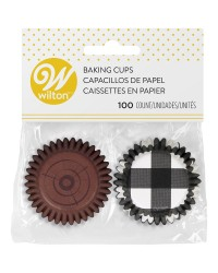 Mini cupcake papers woodgrain and black gingham