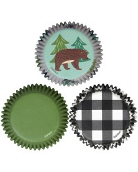 Bear tree and black gingham standard cupcake papers (75)
