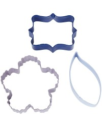 Set 3 cookie cutters plaque flower and leaf by Wilton