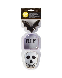 Bat Tombstone and Skull 3 pc Halloween cookie cutter set by Wilton