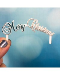 Merry Christmas arched pick plaque Silver
