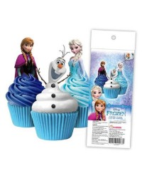 Frozen pack 16 wafer paper cupcake toppers