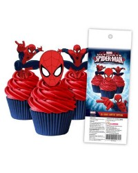 Spiderman pack 16 wafer paper cupcake toppers
