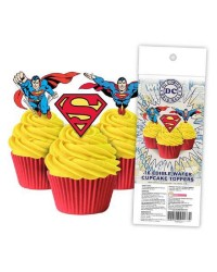 Superman pack 16 wafer paper cupcake toppers