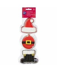 Set 3 Christmas cookie cutters Santa Hat Boots and bauble