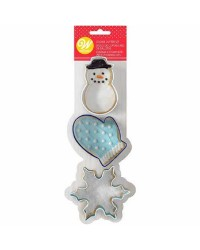 Set 3 Christmas cookie cutters Snowman Mitten Snowflake