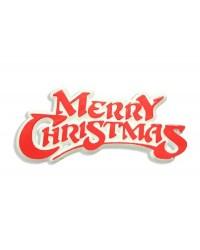 Merry Christmas Red and White plastic cake topper plaque