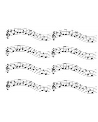 A4 Edible icing image Musical notes bars of music ribbons