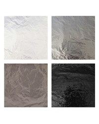 Foil For Wrapping Chocolates 4pk Monochrome silver black white