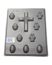 Easter Eggs Basket and large Cross chocolate mould