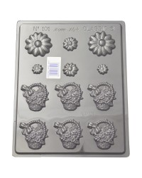 Daisy and flower baskets chocolate mould