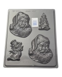 Smiling happy Santa and Christmas Trees chocolate mould