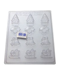 Holly trees sleighs and Christmas Bells chocolate mould