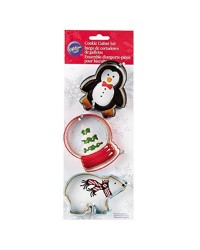 Christmas polar bear snow globe and penguin cookie cutter set of by Wilton