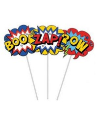 Comic book super heroes WORDS BOOM ZAP POW cake topper kit