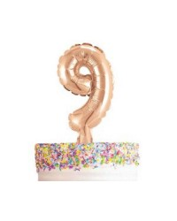 Rose gold number balloon cake topper 9