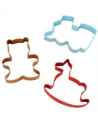 Set of 3 HOMEMADE toys cookie cutters teddy train and rocking horse