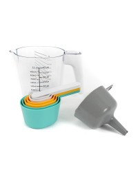 Measuring Jug with nesting measure cups spoons funnel and scraper