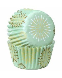 Mint starburst mini cupcake papers 100 pack