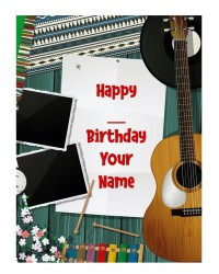 Custom edible icing image A4 Music themed with Guitar
