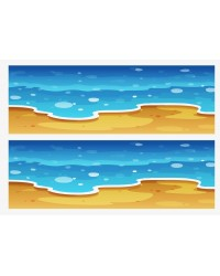 A3 Edible icing image sheet Beach shoreline and waves strips