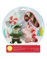 Winter Candyland Cookie Cutter Set 4 Unicorn elf and candies