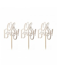 Oh Baby Gold foil cupcake topper picks pack of 12