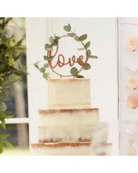 LOVE Botanical wedding cake topper add your own foliage