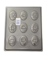 Alpine themed chocolate mould skiers bear edelweiss