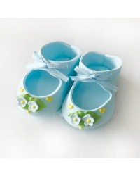 Baby booties sugar icing cake decoration Blue