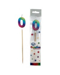 Long wooden pick candle Number 0 Metallic Rainbow