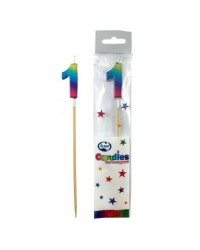 Long wooden pick candle Number 1 Metallic Rainbow