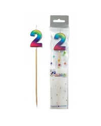 Long wooden pick candle Number 2 Metallic Rainbow