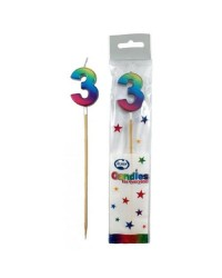 Long wooden pick candle Number 3 Metallic Rainbow
